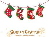 Christmas stockings, greeting card — Stock Vector