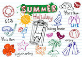 Summer holiday doodles — Stock Vector