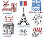 Symbols of France doodles — Stock Vector