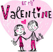 Alla hjärtans par, valentine kort — Stockvektor