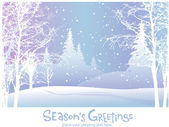 Christmas card with snowy winter landscape — Stock Vector