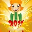 Surprised girl, banner for 2011 — Stock Vector