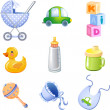 Toys and accessories for baby boy — Stock Vector