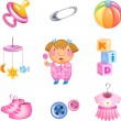 Toys and accessories for baby girl. — Stock Vector