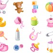 Toys and accessories for baby girl — Stock Vector
