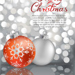 Christmas balls on silver lights background — Stock Vector