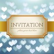 Wedding invitation on blue glittering background in hearts — Stock Vector