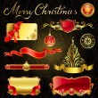 Stock Vector: Christmas golden design elements