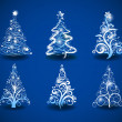 Christmas trees on a blue — Stock Vector