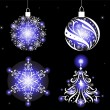 Christmas tree, balls and snowflake — Imagen vectorial