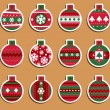 Christmas balls tags or stickers — Stock Vector