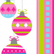 Stock Vector: Card with Christmas balls