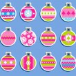 Christmas balls as tags or stickers — Stock Vector
