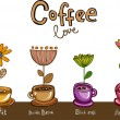 Coffee love, cups with flowers — 图库矢量图片
