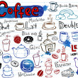 Coffee doodles, — Vettoriali Stock