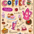 Stock Vector: Coffee design elements and inscriptions