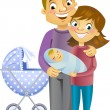 Couple with baby — Stock Vector