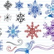 Doodled snoflakes and ornaments — Stock Vector