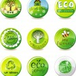 Eco-green badges — Stock Vector
