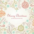 Christmas card with heart shape frame — 图库矢量图片