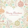 Christmas card with heart shape frame — Imagen vectorial