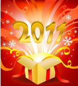 Magische neujahr im feld vectro illustration für grußkarte oder banner — Stockvektor