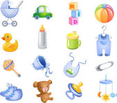 Toys and accessories for baby boy. — Stock Vector