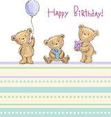 Birthday greetings from cute bears — Stock Vector