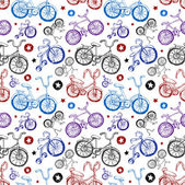 Seamless background of bicycles — Stock Vector