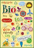 Eco etichette in stile doodle — Vettoriale Stock