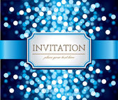 Invitation on blue glittering background — Vector de stock