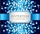 Uitnodiging op glinsterende blauwe achtergrond — Stockvector