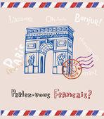 Vítězný oblouk v paříži, pohlednice — Stock vektor