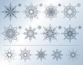 Fiocchi di neve calligrafici — Vettoriale Stock