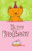 Verjaardag card met kat — Stockvector