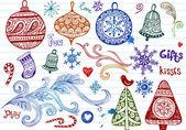 Conjunto de vacaciones doodle ornamentos — Vector de stock