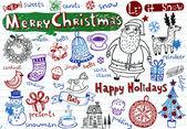 Set of Christmas doodles — Vecteur