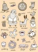 Christmas doodle symbols — Stock Vector