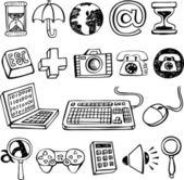 Doodle Computer Symbols. — Stock Vector