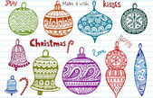 Doodled christmas balls — Stock Vector