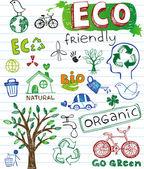 Respetuoso del medio ambiente doodles — Vector de stock