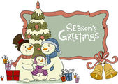 Snowmen near to a Christmas fur-tree — Cтоковый вектор