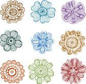 Doodle bloemen — Stockvector