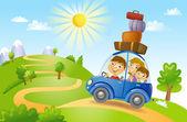 Familia viajando en coche — Vector de stock
