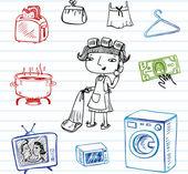 Housewife doodle set — Stock Vector
