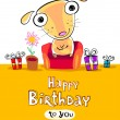 Birthday card with funny cartoon on the cover — Stock Vector