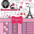 Doodle vintage objects - scrapbook collection. — Stok Vektör