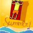 Summer.Sun bath — Stock Vector