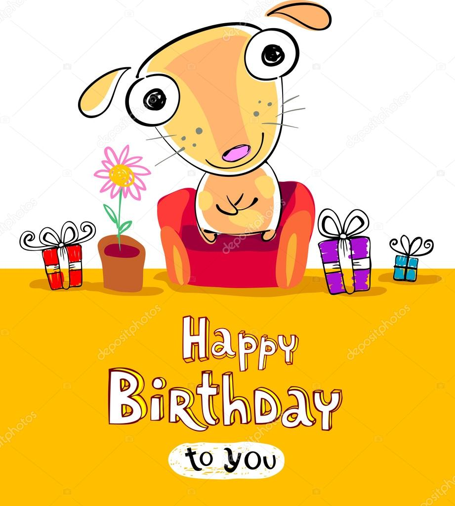 Birthday Card With Funny Cartoon On The Cover