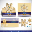 Christmas Greeting Card with envelope and decor. — Vector de stock #34984451